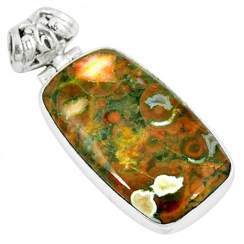 Pandantiv bijuterie din argint 925 cu jasp riolit