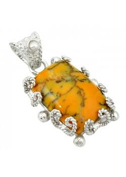 Pandantiv bijuterie din argint 925 cu opal dentritic galben
