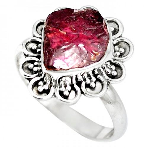 Inel bijuterie din argint 925 cu granat rosu druza