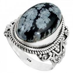 Inel bijuterie din argint 925 cu obsidian