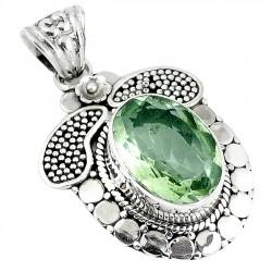 Pandantiv bijuterie din argint 925 cu ametist verde