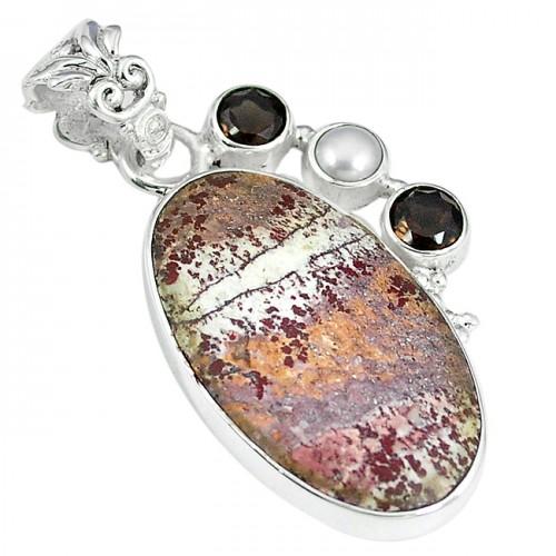 Pandantiv bijuterie din argint 925 cu opal dentritic si perla