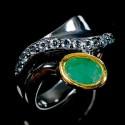 Inel bijuterie din argint 925 cu smarald si topaz