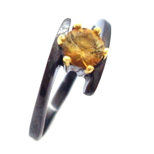 Inel bijuterie din argint 925 cu turmalina galbena