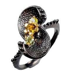 Inel bijuterie  floral din argint 925 cu turmalina si peridot