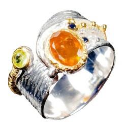 Inel bijuterie din argint 925 cu opal orange si safir galben