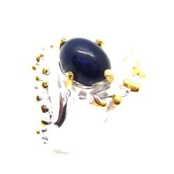 Inel bijuterie din argint 925 cu opal negru-albastrui
