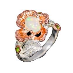 Inel bijuterie din argint 925 cu opal si crom-diopsid