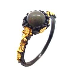 Inel bijuterie din argint 925 cu opal negru multicolor si ornamente