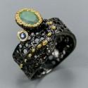 Inel bijuterie din argint 925 cu smarald si safir