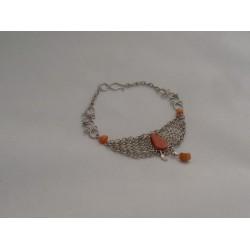 Bratara bijuterie peruviana lata cu pietre caramizii