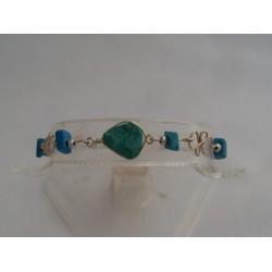 Bratara bijuterie peruviana cu pietre verde-turquoise
