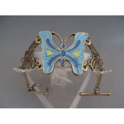 Bratara bijuterie cu ornamente fluture si aplicatii