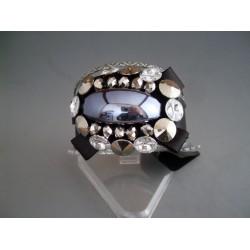 Bratara bijuterie lata neagra cu piatra albastru-petrol