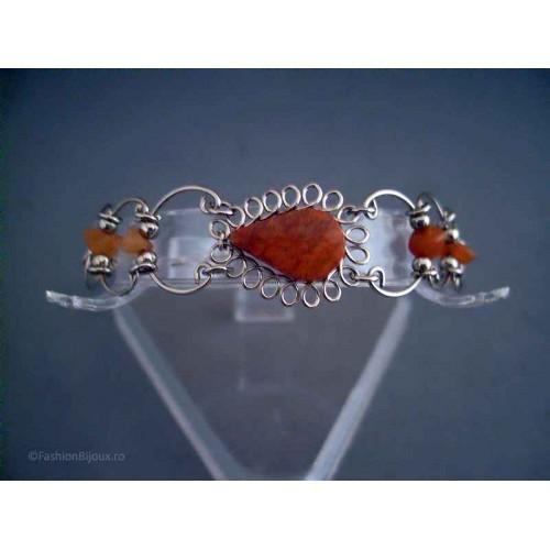 Bratara bijuterie peruviana cu pietre caramizii