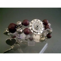 Bratara bijuterie metalica cu perlute visinii si ornamente