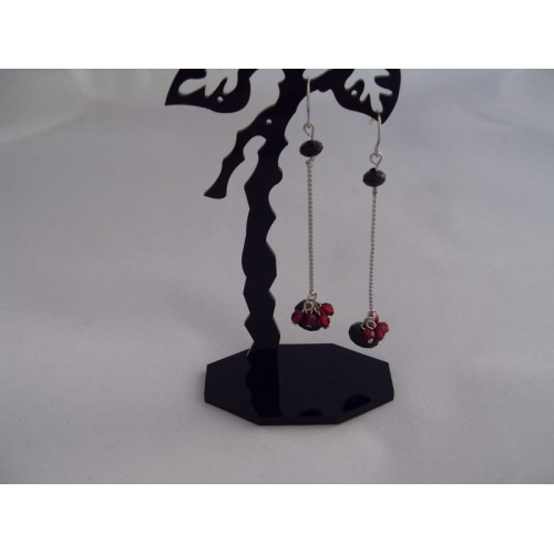 Cercei bijuterie lungi cu ornamente visinii
