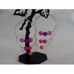 Cercei bijuterie lungi cu perlute colorate
