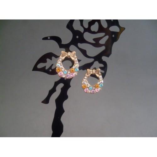 Cercei bijuterie aurii cu fundita
