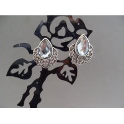 Cercei bijuterie argintii cu piatra lacrima alba-gri