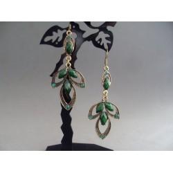 Cercei bijuterie paun cu pietre si cristale verzi