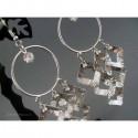 Cercei bijuterie argintii cu cercuri si ornamente