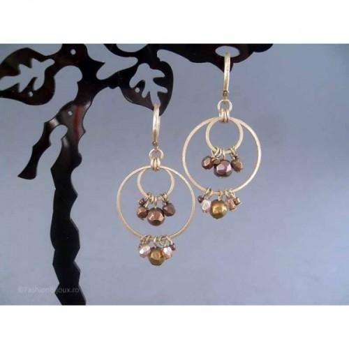 Cercei bijuterie aurii cu margele si cristale maronii