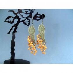 Cercei bijuterie aurii cu margele portocalii