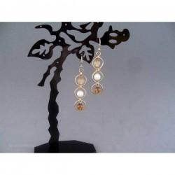 Cercei bijuterie aurii cu cercuri si margele