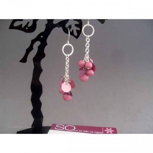 Cercei bijuterie argintii cu perlute roz-plaman