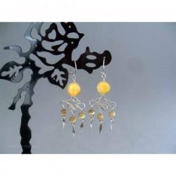 Cercei bijuterie peruvieni cu pietre sticla portocalie