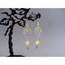 Cercei bijuterie peruvieni cu pietre sticla galbena