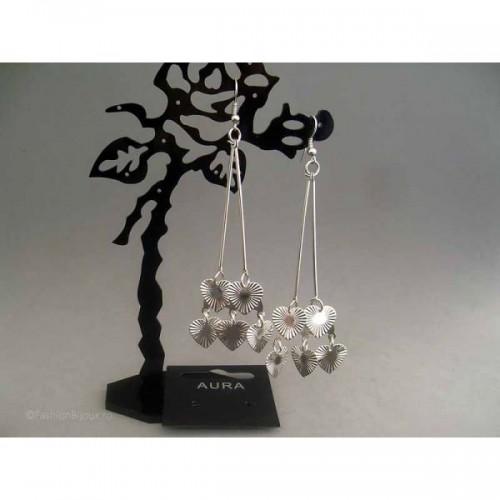 Cercei bijuterie argintii cu inimioare striate