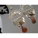 Cercei bijuterie peruvieni cu pietre maro