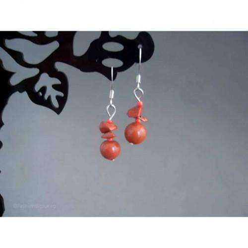 Cercei bijuterie peruvieni cu pietre corai
