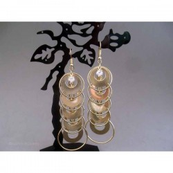 Cercei bijuterie aurii cu cercuri, discuri si cristale
