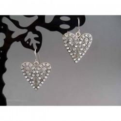 Cercei bijuterie inima cu cristale albe