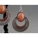 Cercei bijuterie argintii cu piatra ovala maro-deschis