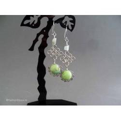 Cercei bijuterie peruvieni cu pietre sticla murano verzi