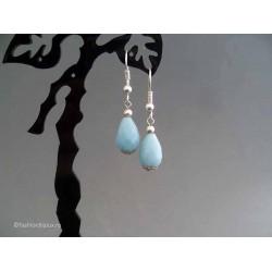 Cercei bijuterie argintii cu pietre turquoise