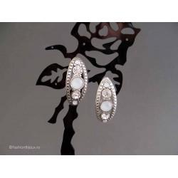 Cercei bijuterie argintii cu cristale albe