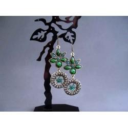 Cercei bijuterie aurii cu pietre si cristale verzi
