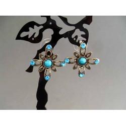 Cercei bijuterie aurii cu pietre si cristale albastre