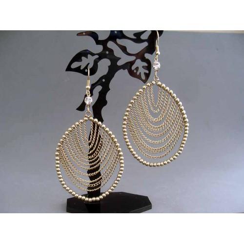 Cercei bijuterie aurii cu lanturi