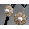 Cercei bijuterie aurii cu perla si cristale