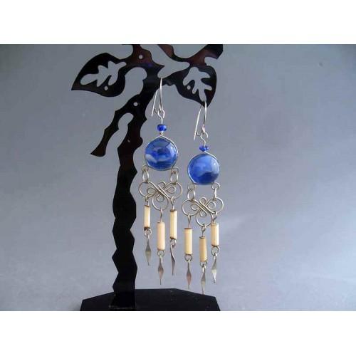 Cercei bijuterie peruvieni cu sticla murano albastra si bambus
