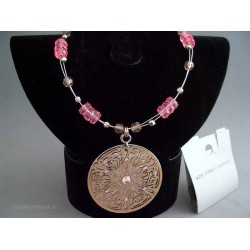 Colier bijuterie metalic cu margele roz