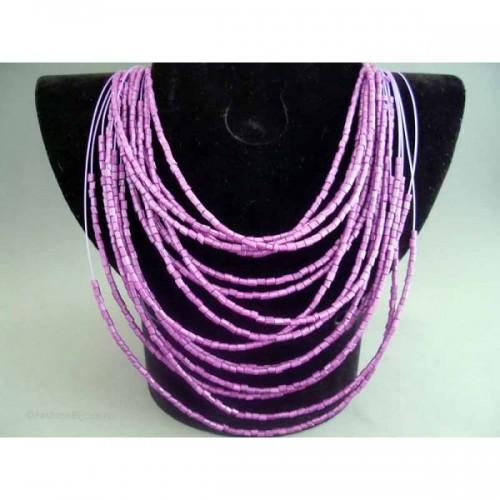 Colier bijuterie multi-fir cu margele violet