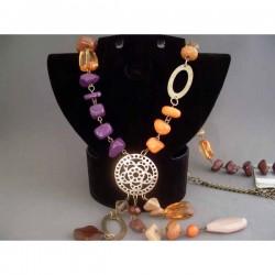 Colier bijuterie cu pietre si pandantiv