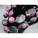 Colier bijuterie cu margele si cristale violet